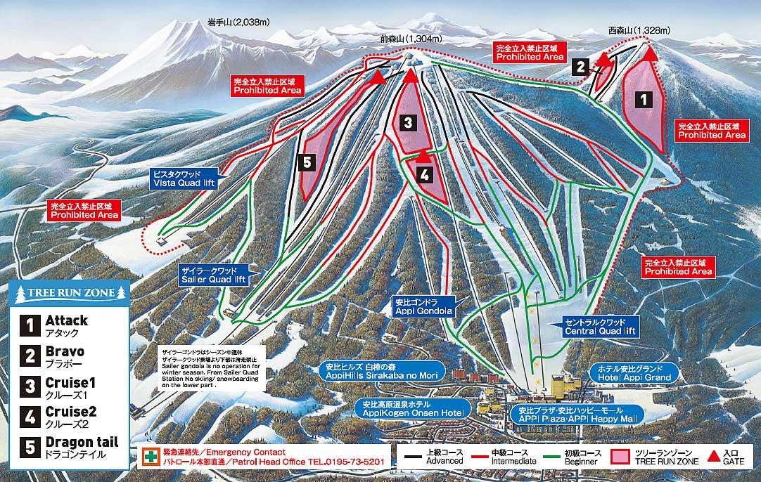 安比高原雪場雪道介紹 2018-19 擴大開放的樹林區
