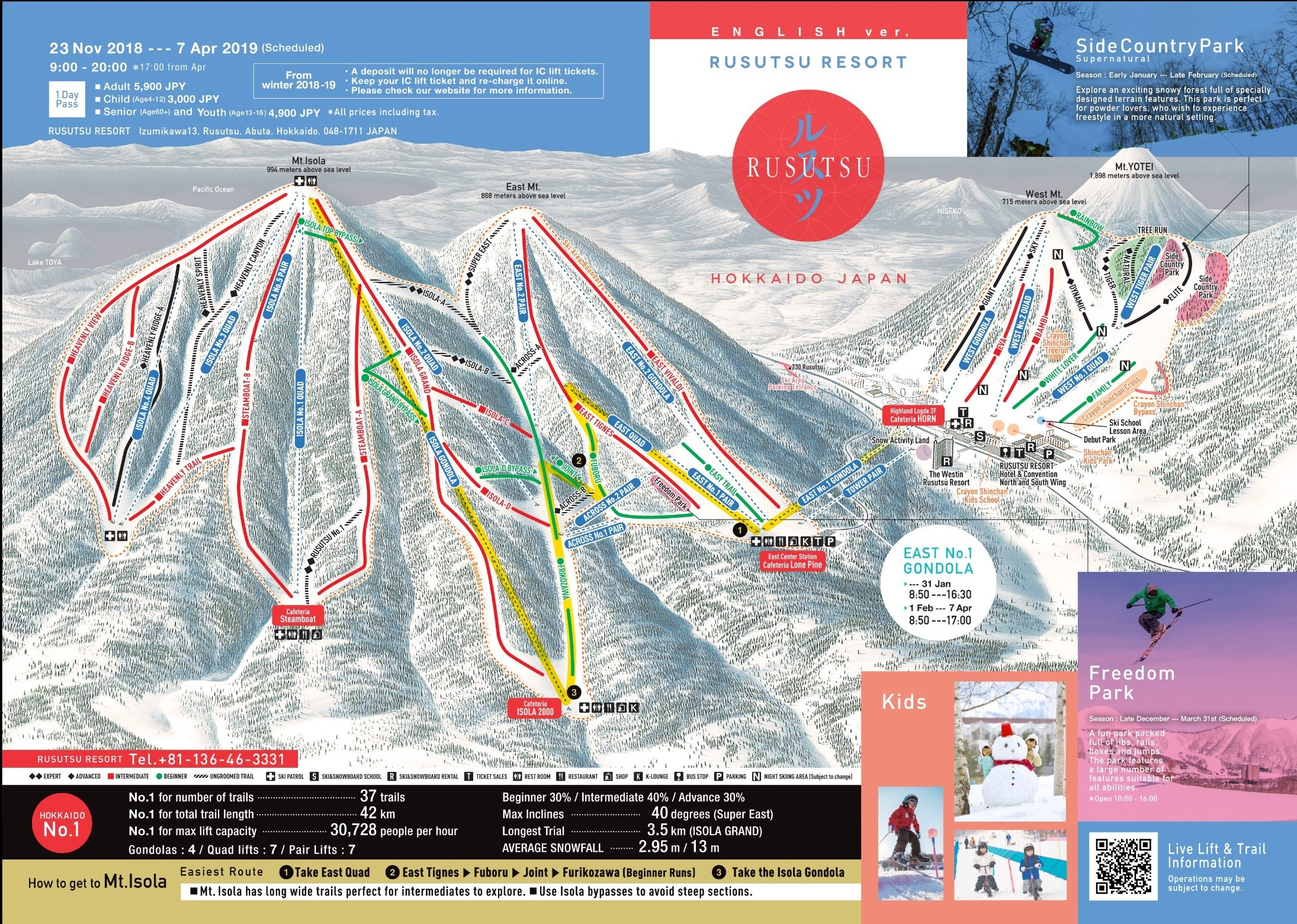留壽都滑雪場雪道介紹
